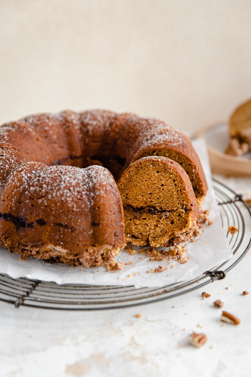 This moist and sweet Grain Free Sweet Potato Coffee Cake is the perfect gluten-free and dairy-free coffee cake for New Year's brunch!