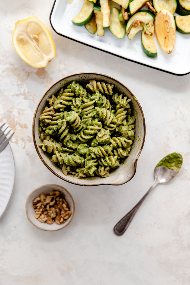 Cassava Flour Pesto Pasta and Roasted Vegetables makes the perfect easy grain-free dish with your choice of protein for an easy weeknight dinner.
