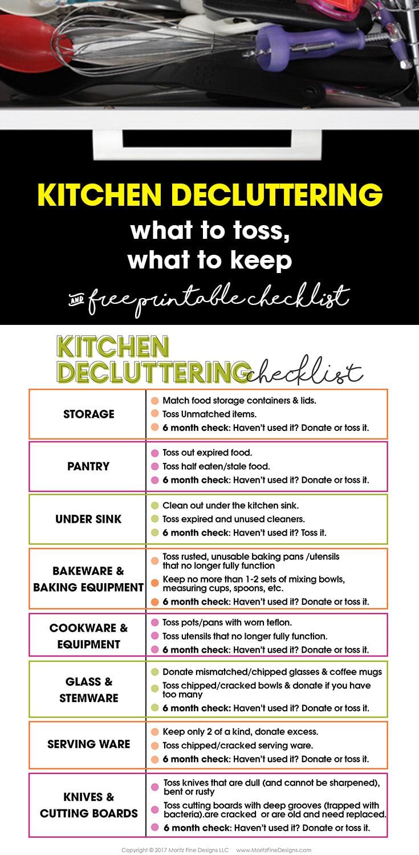 Kitchen Decluttering Tips Free Printable Checklist