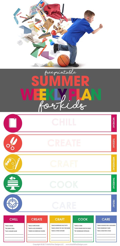 Summer Weekly Plan For Kids Free Printable Schedule