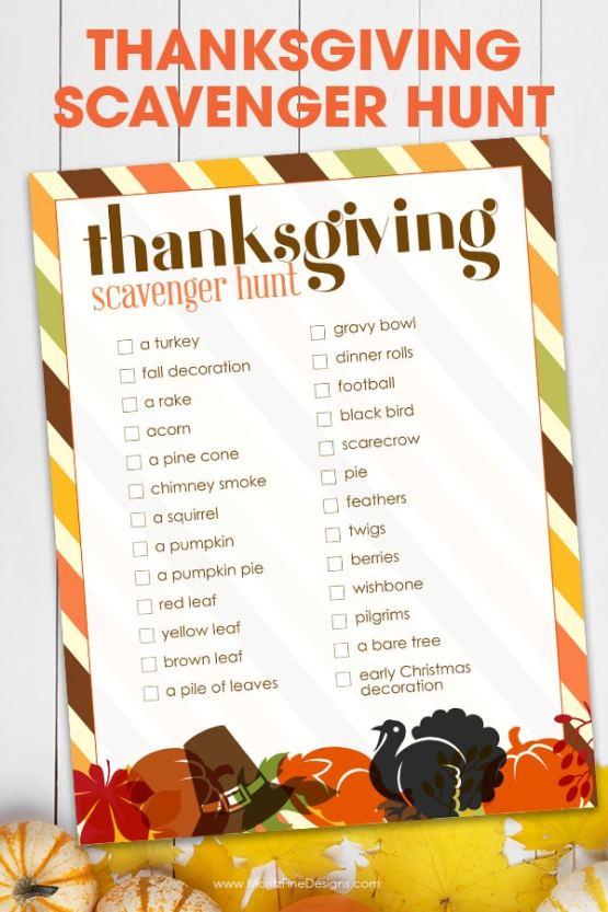 Image result for thanksgiving scavenger hunt
