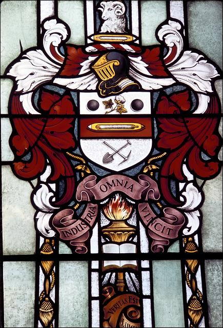 The Morley Coat-of-arms in the Town Hall stained glass window
