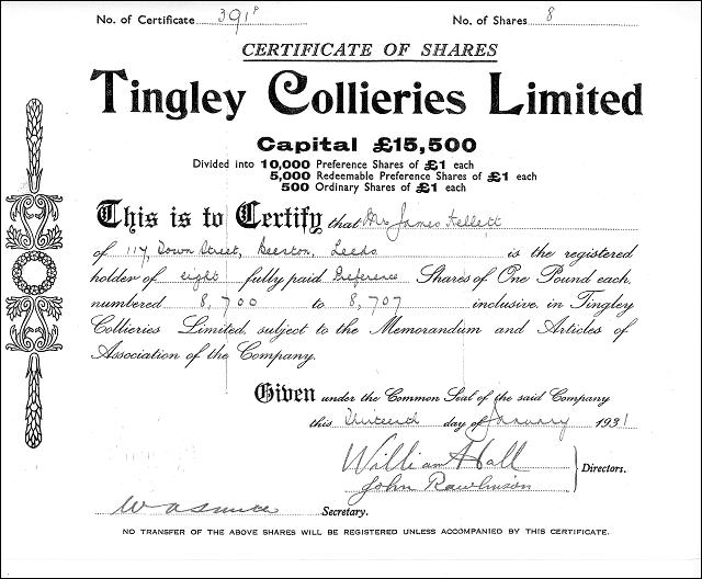 Share certificate for Topcliffe Colliery