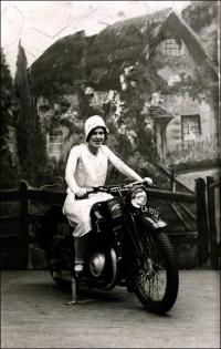 Annie Sanderson (nee Akeroyd) on a motorbike at Blackpool