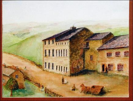 Painting of Crank Mill based on a sketch in 'Rambles about Morley'