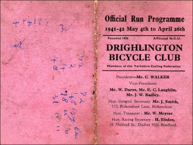 Official Run Programme of the Drighlington Bicycle Club for 1941 to 1942