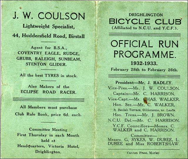 The Drighlington Bicycle Club programme, from 1932 to 1933 - Part 1