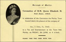 Invitation Card to Mr. and Mrs. N Peel to a Coronation Tea