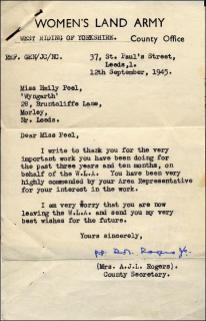 Letter from Women's Land Army to Emily Peel