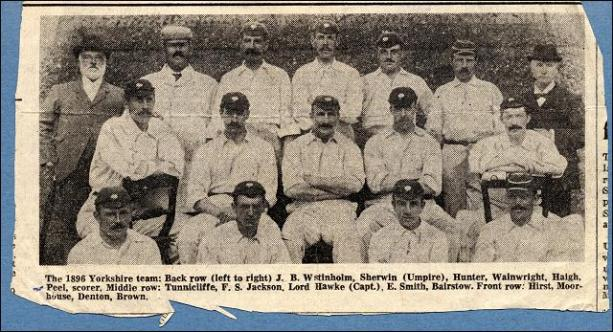 Yorkshire cricket team of 1896 including Bobby Peel, born in Churwell