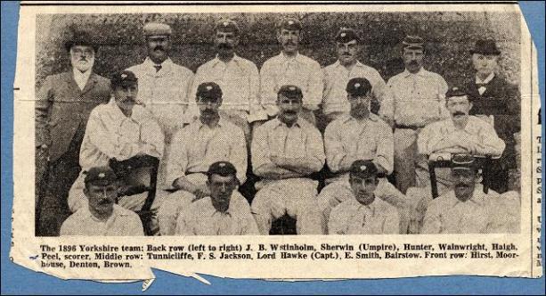 Yorkshire cricket team of 1896 including Bobby Peel, born in Churwell