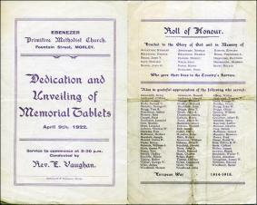 Memorial Service Programme for members of the Ebenezer congregation killed during World War 1