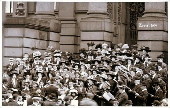 A group Choral Whitsuntide Sing on Morley Town Hall Steps