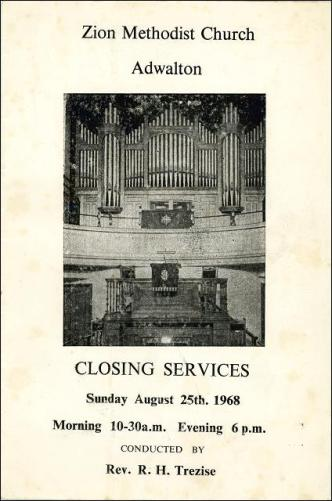 The closing service of the Zion Methodist Church, Adwalton