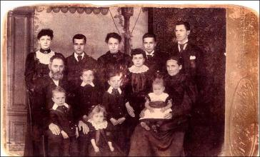 Studio photo of family group