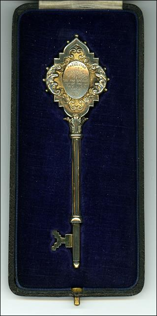 Key presented to Dr. A.H.B. Fletcher, to open the New Cricket Pavilion at Drighlington
