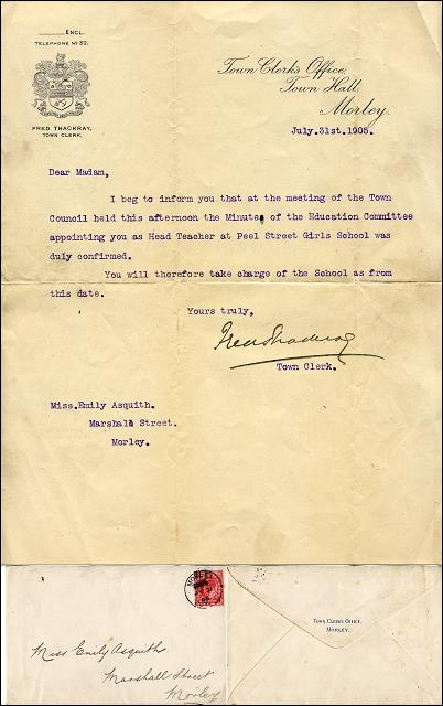 A letter to Miss Emily Asquith from the Town Clerk offering her the Head Teacher position at Peel Street Girls School