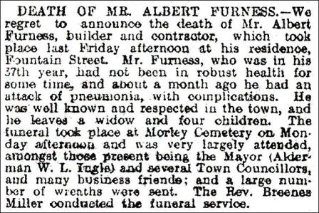 Obituary of Mr. Albert Furness in the Morley Observer