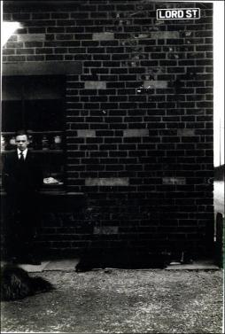 Mr Herbert Grayshon outside his Aunt's Sweet Shop in Lord Street