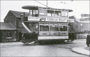 A tram at Bruntcliffe Crossroads