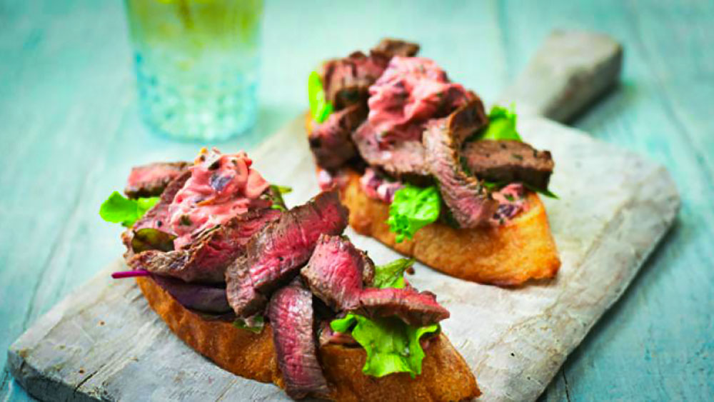 BBQ Rib-Eye Steak Bruschetta