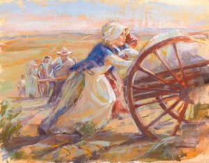 Woman pioneer pushing handcart