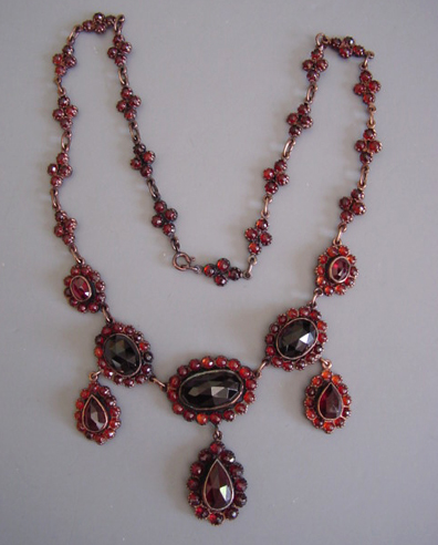 Garnet Necklace Made With Facetted 4mm And Gold 16 Long Set Us 30
