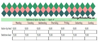 Bedtime and Wake Up Goals Schedule