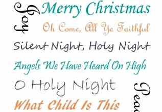 Christmas Carols Teal and Coral