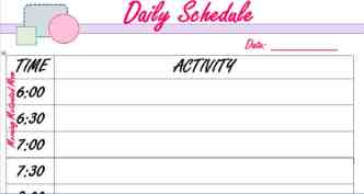 Daily Schedule_30 minute increments