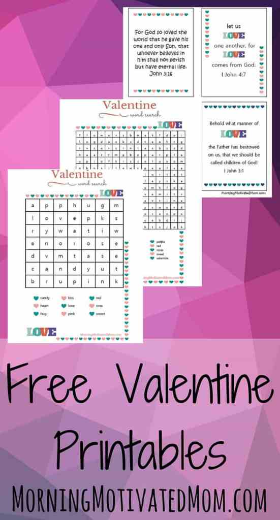 Valentine's Day Word Search & Bible Verse Printables Free! Word Search: 2 versions Hard & Easy Bible Passage Printables