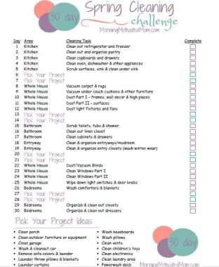30 Day Spring Cleaning Challenge