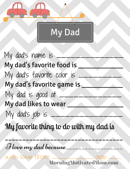 My Dad Printable Page