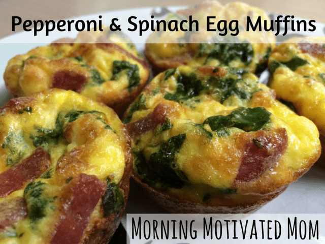 Pepperoni and Spinach Egg Muffins breakfast