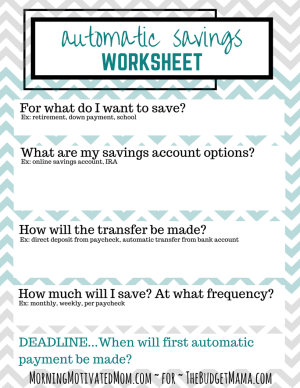 Automatic Savings Worksheet