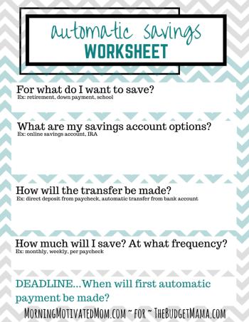 Automatic Savings Worksheet
