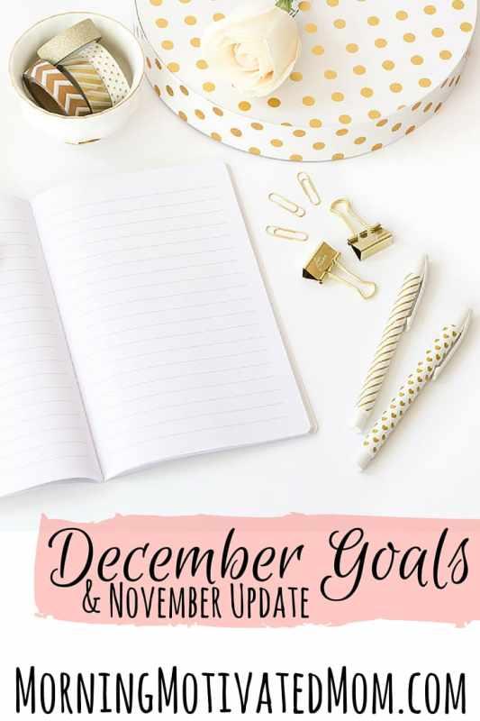 December Goals and November Monthly Goals Update.