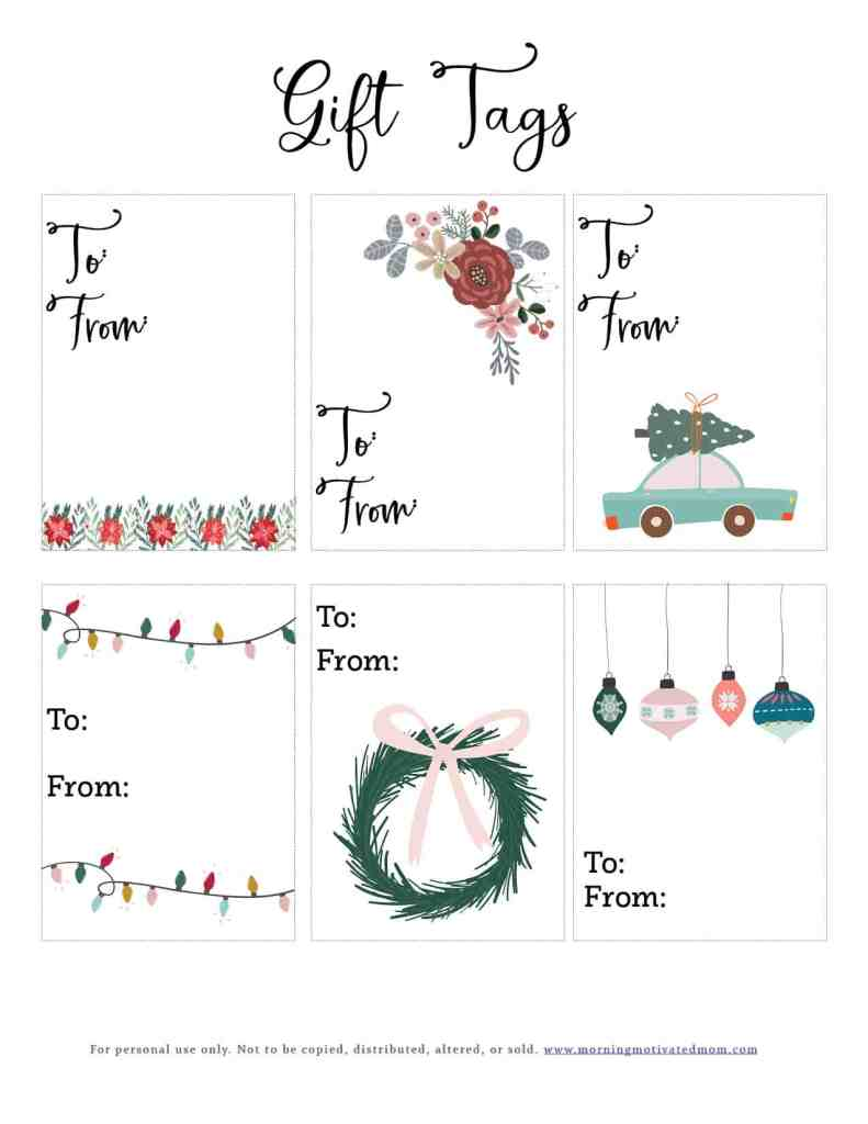 Make your Christmas presents festive with these free gift tags. There are two different styles. Just print and then either place them on the package or tie them onto your gift. Free Gift Tags DIY Handmade #christmaspresent #gifttags #holidaygifting