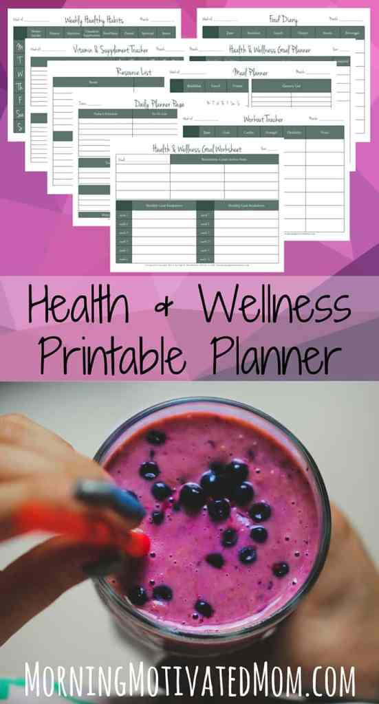 Health and Wellness Printable Planner. A 9-page workbook to help your plan, manage, and track your health, fitness, and wellness goals.
