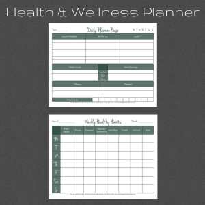 Health and Wellness Printable Planner. Habit Tracker. Daily Schedule.