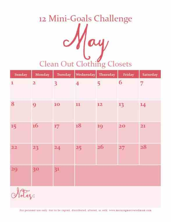 May Mini Goal: Clean Out Clothing Closets and drawers. 12 Mini Goals Challenge.