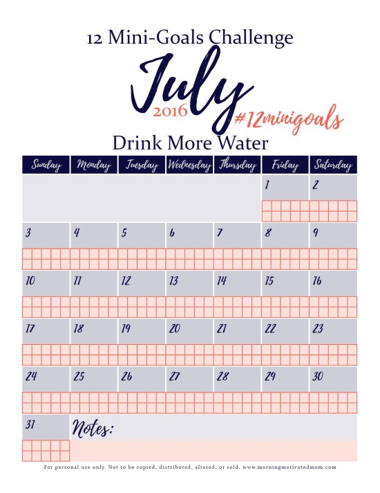 Mini Goals Challenge for July: Drink more water