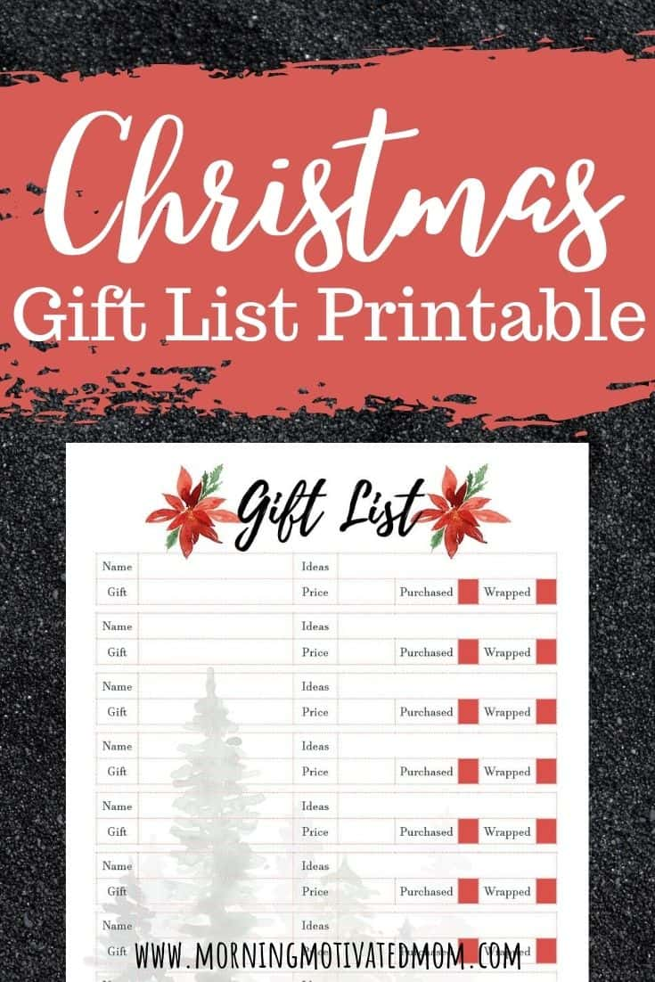 Free Christmas Gift List Printable Morning Motivated Mom