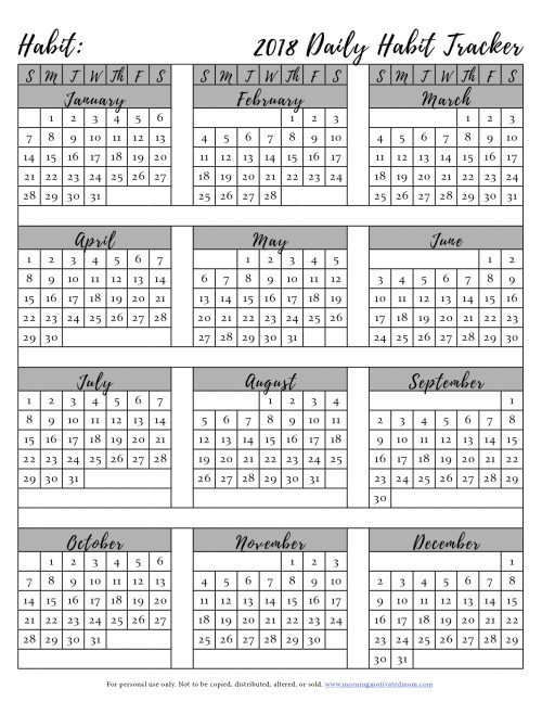 Free Printable Habit Tracker. Create a habit and do it every day. Track it on this free printable habit tracker. Don't break the chain!