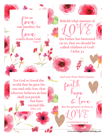 Scripture LOVE printables – Morning Motivated Mom