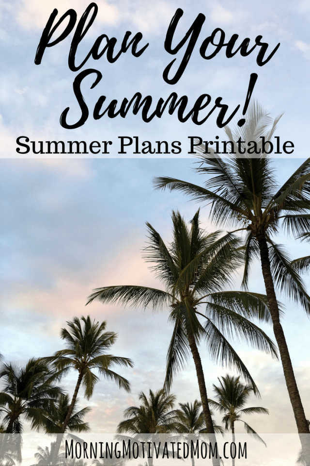 Free Summer Plans Printable. Plan out your summer! Write out your summer goals or plans. Includes: Places to Go, People to See, Things to Enjoy, and Work to Do.