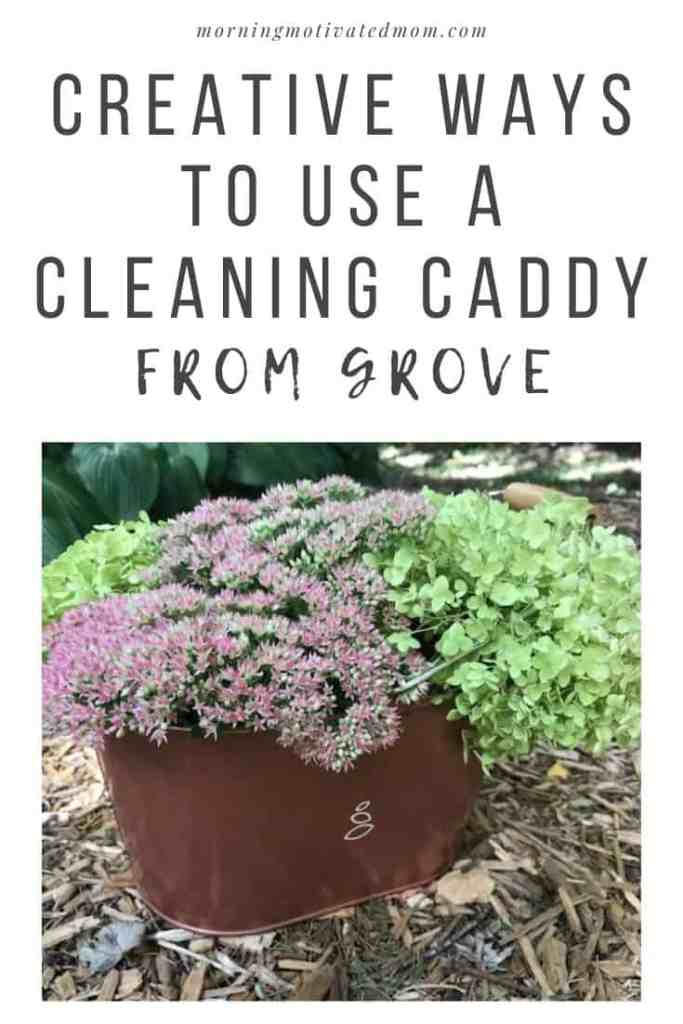There are so many fun uses for a cleaning caddy! My favorite new way is grab hydrangea and sedum from the yard and put it in my caddy for home fall decore! I share Creative Ways to Stay Organized with a Cleaning Caddy. Plus how to save money on cleaning supplies with Grove Collaborative.