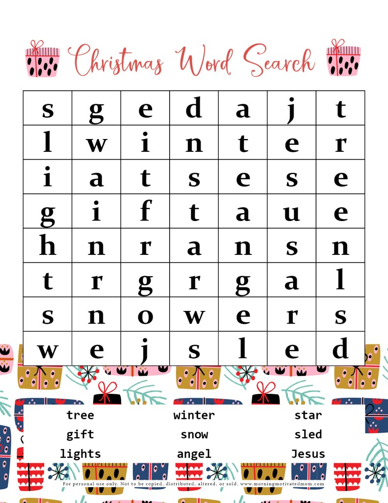 Are you looking for a Christmas activity for your children? Check out the Free Christmas Word Search Printables I have created for you! There is both an easy and hard version of the Christmas Word Search. Enjoy this free fun holiday activity!