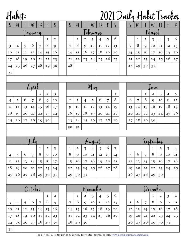 Small daily habits can make a huge impact over time. Track your daily habits on this Free Printable Habit Tracker. Track your daily habits in 2021. Check the box off each day. I also share a list of habits to track. #habittracking #habits #goalsetting