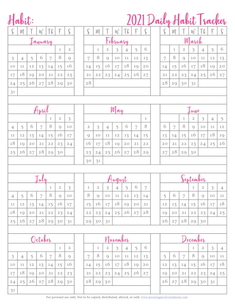 Small daily habits can make a huge impact over time. Track your daily habits on this Free Printable Habit Tracker. Track your daily habits in 2021. Check the box off each day. I also share a list of habits to track. #habittracker #goalsetting